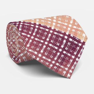 Raspberry Pink Blush Modern Plaid Netted Ombra Tie