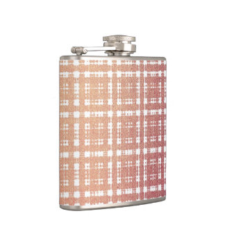 Raspberry Pink Blush Modern Plaid Netted Ombra Flasks