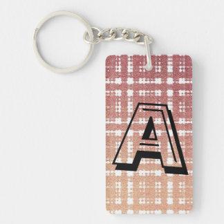 Raspberry Pink Blush Monogram Modern Plaid Ombra Double-Sided Rectangular Acrylic Key Ring