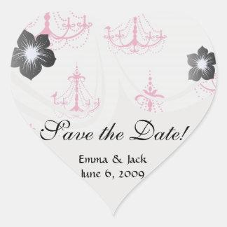 raspberry pink chandelier pattern on white heart sticker