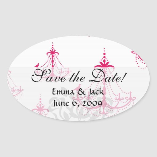 raspberry pink chandelier pattern on white oval stickers
