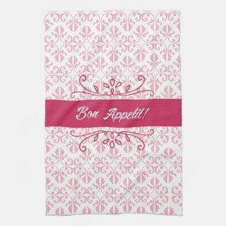 Raspberry pink damask bon appetit tea hand towels