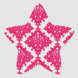 raspberry pink diamond damask on white star sticker
