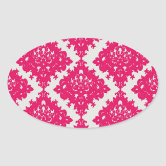 raspberry pink diamond damask on white oval stickers