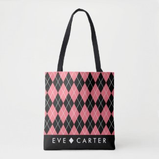 Raspberry Pink Geometric Diamond Print Tote Bag
