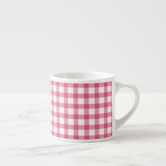 Raspberry Pink Gingham Check Pattern Espresso Cup