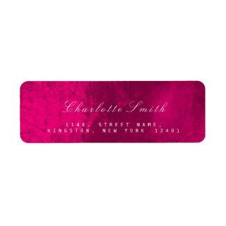 Raspberry Pink Glass Metal Return Address Labels