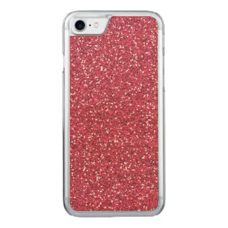 Raspberry Pink Glitter Effect Carved iPhone 7 Case