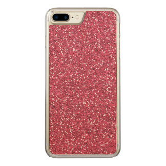 Raspberry Pink Glitter Effect Carved iPhone 7 Plus Case