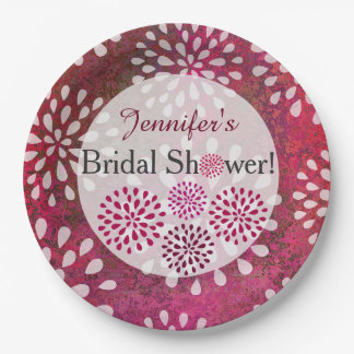 Raspberry Pink Mums Flower Blossom Bridal Shower Paper Plate
