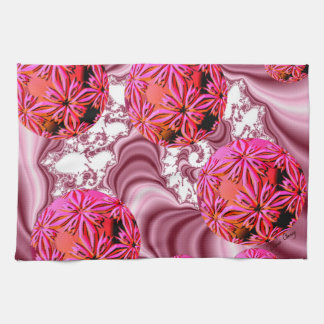 Raspberry Pink Vision, Abstract Snow Flakes Tea Towel