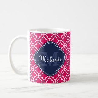 Raspberry Pink Wht Moroccan Pattern Navy Monogram Coffee Mug