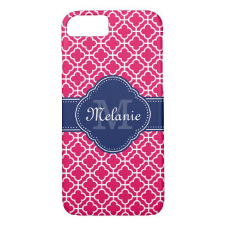 Raspberry Pink Wht Moroccan Pattern Navy Monogram iPhone 8/7 Case