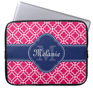 Raspberry Pink Wht Moroccan Pattern Navy Monogram Laptop Sleeve