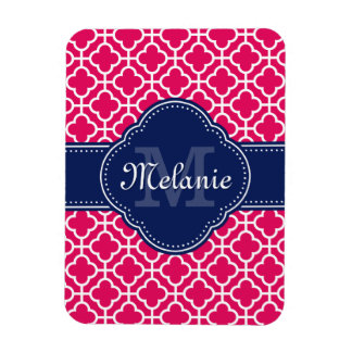 Raspberry Pink Wht Moroccan Pattern Navy Monogram Magnet