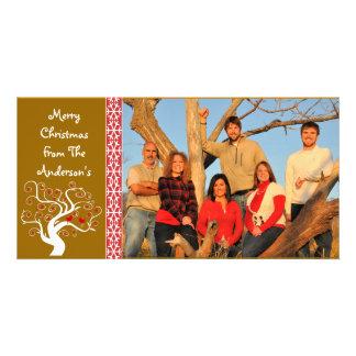Raspberry Plaid Tree & Snowflake Merry Christmas Personalised Photo Card