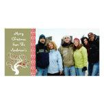 Raspberry Plaid Tree & Snowflake Merry Christmas Photo Greeting Card