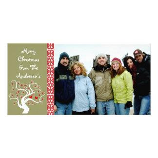 Raspberry Plaid Tree & Snowflake Merry Christmas Photo Card