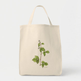 Raspberry Plant Grocery Tote