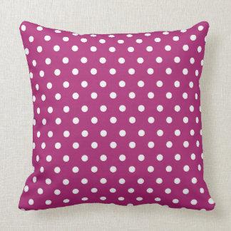 Raspberry Polka Dot Pattern Cushion