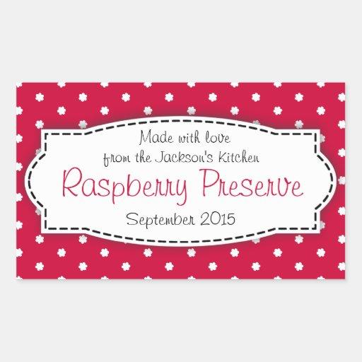 Raspberry preserve or jam jar food label sticker