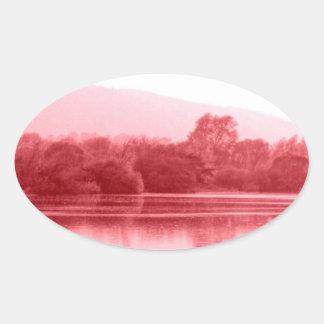 Raspberry Riverbank Oval Sticker