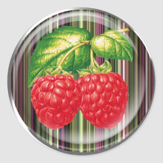 Raspberry Round Sticker