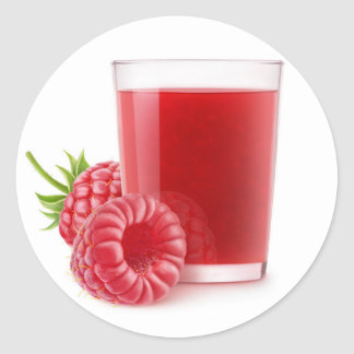 Raspberry smoothie round sticker