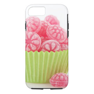 Raspberry tasty candy sweets in green cup cake iPhone 7 case