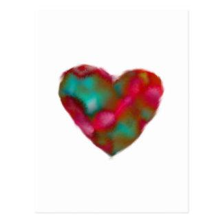 Raspberry/Turquoise Heart Postcard