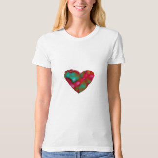 Raspberry/Turquoise Heart T Shirt