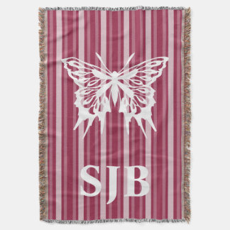 Raspberry Victorian Stripe with Butterfly Throw Blanket