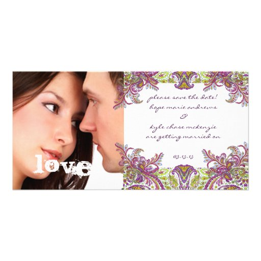 Raspberry Vintage Floral Save The Date Photo Photo Card