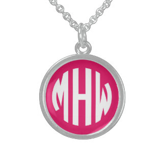 Raspberry White 3 Initials in a Circle Monogram Round Pendant Necklace