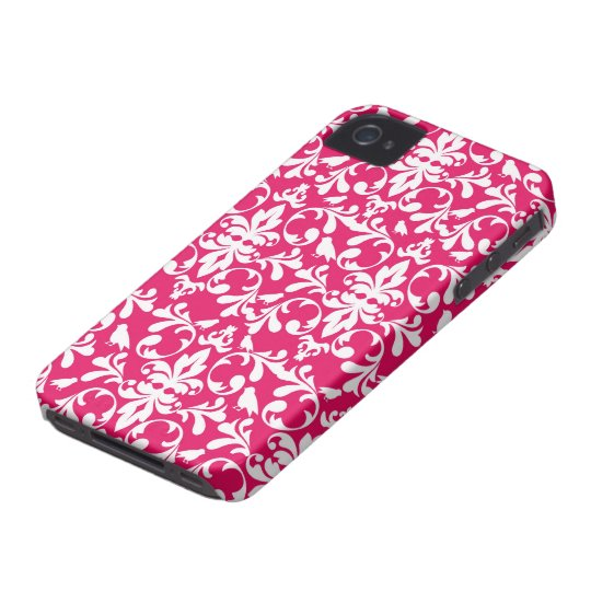 raspberry white bird damask iPhone 4 case