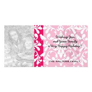 raspberry white bird damask photo greeting card