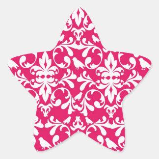 raspberry white bird damask star sticker