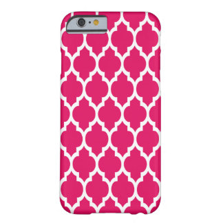 Raspberry White Moroccan Quatrefoil Pattern #4 Barely There iPhone 6 Case