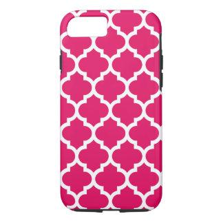Raspberry White Moroccan Quatrefoil Pattern #5 iPhone 7 Case