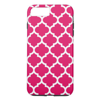 Raspberry White Moroccan Quatrefoil Pattern #5 iPhone 7 Plus Case