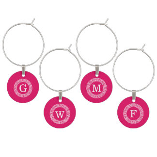 Raspberry Wht Greek Key Rnd Frame Initial Monogram Wine Charm