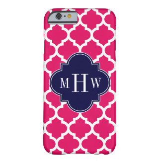 Raspberry Wht Moroccan #5 Navy 3 Initial Monogram Barely There iPhone 6 Case