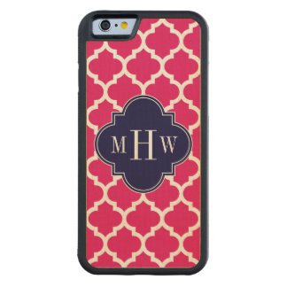 Raspberry Wht Moroccan #5 Navy 3 Initial Monogram Carved Maple iPhone 6 Bumper Case