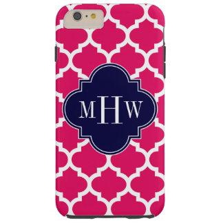 Raspberry Wht Moroccan #5 Navy 3 Initial Monogram Tough iPhone 6 Plus Case