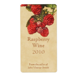 Raspberry wine bottle label shipping label