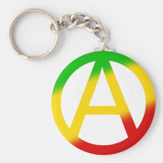Rasta Anarchy Symbol Basic Round Button Key Ring