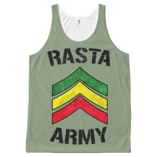 Rasta army All-Over print tank top
