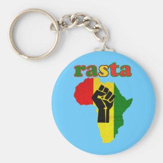 Rasta Black Power Fist over Africa Keychain
