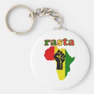Rasta Black Power Fist over Africa Key Ring