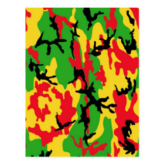 Rasta Colored Camouflage Postcard
